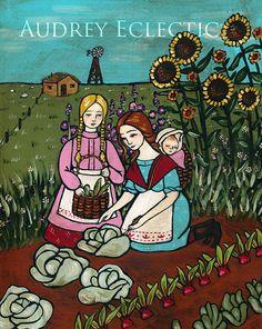 PRINT Picking Dinner folk art gardening by audreyeclectic on Etsy, $18.00