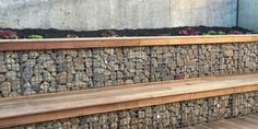 Retaining Walls Melbourne - Gabion baskets are perfect as retaining wall blocks; they are incredibly strong, highly weather resistant and well known retaining wall builders in Melbourne. Gabion Stone, Gabion Retaining Wall, Retaining Wall Blocks, Wood Stone, Small Retaining Wall, Wall Bench, Wall Seating, Gabion Cages, Gabion Baskets