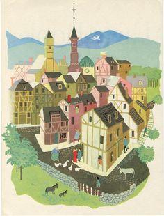 medieval town illustration