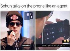 But he's talking to Kyungsoo lol ^^^ Sehun also listens to Kyungsoo through earphones, too, just like us^. IT'S JASON BORNE Funny Kpop Memes, Exo Memes, Exo Ot12, Chanbaek, K Pop, Chanyeol Baekhyun, Xiuchen, Fandom, Korean Music