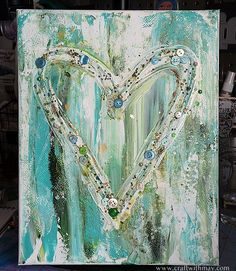 Easy Canvas Mixed Media Home Decor Wall Art by May Flaum using buttons, beads, and paint.