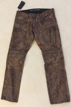 d665db393ea7 RALPH LAUREN Mens Black Label Raider Coated Moto Jeans Brown Sz 32 32 NEW