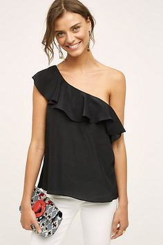 Silk One-Shoulder Blouse #anthropologie