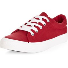 New Look Teens Red Lace Up Plimsolls ($14) ❤ liked on Polyvore featuring shoes, sneakers, red, plimsoll shoes, red sneakers, laced shoes, red canvas sneakers and lace up shoes
