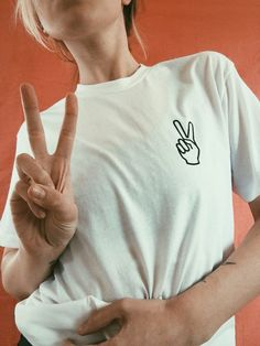 Peace Sign Tee Sizes S, M, L, XL, XXL Available in White 50% Polyester/ 50% Cotton Made and Printed in USA