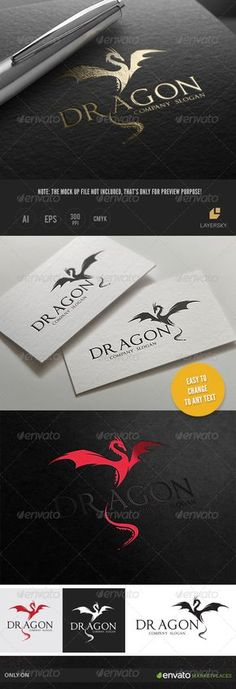 Dragon by LayerSky This logo design for all creative business. Consulting, Excellent logo,simple and unique concept. Logo Template FeaturesAI and EPS Logos, Logo Branding, Logo Dragon, Dragon Art, Dragon Silhouette, Photoshop Shapes, Crest Logo, Print Fonts, Letter Logo