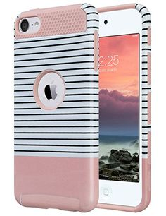 iPod Touch 6 Case,iPod Touch 5 Case,ULAK [Colorful Series] 2-Piece Style Hybrid Hard Case Cover for Apple iPod touch 5 6th Generation(Minimal Rose Red Stripes):Amazon