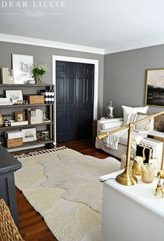 Some Updates to Our Office/Guest Room - Adding a Daybed - Dear Lillie Studio - Small Room Designs Guest Bedroom Home Office, Bedroom Office Combo, Guest Room Decor, Home Office Space, Home Office Design, Guest Bedrooms, Bedroom Ideas, Grey Office, Guest Room Paint