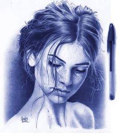 Portrait Illustration Ballpoint pen portrait by Sonia Davel. Biro Art, Ballpoint Pen Drawing, Pencil Art Drawings, Portrait Sketches, Portrait Art, Art Sketches, Pen Illustration, Portrait Illustration, Ballpen Drawing
