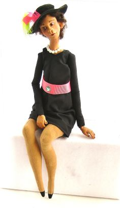 African American Sorority Colors Pink and Green - One of a Kind Hand Sculpted Art Doll