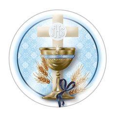 Litoarte Christening Invitations Boy, Baptism Banner, Holy Communion Invitations, Communion Favors, Decoration Communion, First Communion Decorations, Wax Paper Transfers, Bible Cake, Eucharist