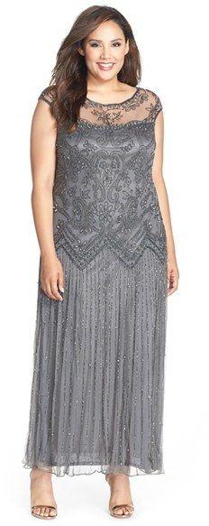 Pisarro Nights Illusion Yoke Embellished Cap Sleeve Long Dress (Plus Size)