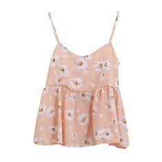 Sweet Flora Print Chiffon Ruffle Hem Camis ($9.41) ❤ liked on Polyvore featuring tops, tank tops, beautifulhalo, bhalo, bh, chiffon tank top, chiffon camisole, pink tank top, cami tank top and pink camisole