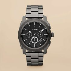 Machine Stainless Steel Watch in Smoke by Fossil.