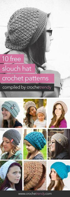 10 Free Slouch / Slouchy Hat Crochet Patterns roundup via Crochetrendy Slouch Hat Crochet Pattern, Crochet Beanie, Knit Or Crochet, Crochet Scarves, Crochet Crafts, Crochet Clothes, Crochet Projects, Knitted Hats, Crochet Hat Patterns