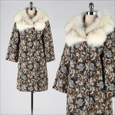 vintage 1960s coat . brocade tapestry . fox collar . 1332  SO. MUCH. FABULOUSNESS.   This is a great vintage clothing site.  I'm in love!