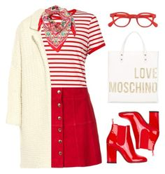 """""""Red and White"""" by stavrolga ❤ liked on Polyvore featuring Miss Selfridge, Ines de la Fressange, Maje, Laurence Dacade, Love Moschino, See Concept, Dolce&Gabbana, redandwhite, polyvoreeditorial and stripedtop"""