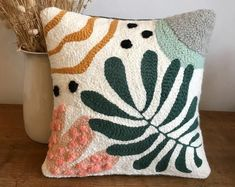 Abstract cushion & nature N. 2 in punch needle-on order Abstract cushion & natu. Abstract cushion & nature N. 2 in punch needle-on order Abstract cushion & nature N. 2 in punch ne Needle Cushion, Diy Cushion, Circular Weaving, Image Deco, Punch Needle Patterns, Decorative Cushions, Punch Art, Rug Hooking, Etsy
