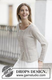 """Strikket DROPS dobbelspent jakke i """"Cotton Light"""" eller """"Belle"""" med hullmønster og fletter. Str S - XXXL. ~ DROPS Design"""