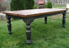 The Louden Stockton Farm Table in Black rustic distressed finish. Farmhouse table. By the Louden Furniture Company