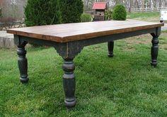 The Louden Stockton Farm Table in Black rustic distressed finish. The Louden Stockton Farm Table in Black rustic distressed finish. By the Louden Fu