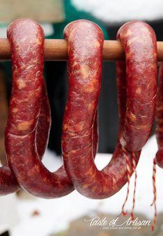 Garlic Sausage - Taste of Artisan Texas Sausage Recipe, Smoked Sausage Recipes, Homemade Sausage Recipes, Sausage Meals, Jerky Recipes, Venison Recipes, Salami Recipes, How To Make Sausage, Sausage Making