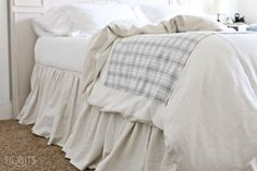 DIY Gathered Bed skirt | From a Drop Cloth - Tidbits