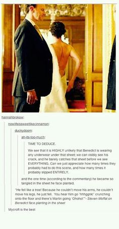 Sherlock - the sheet scene in Buckingham Palace