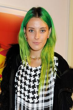 It's Time To Dye Your Hair Green #refinery29  http://www.refinery29.com/2014/10/76718/green-hair-celebrities#slide5  Like a rarely seen tropical rainforest bird, Chloe Norgaard  strutted the Rodarte runway with impeccable lime-green tresses. Neon green is one of those colors that works on any skin tone. The point is to be bold. Work it, girl!