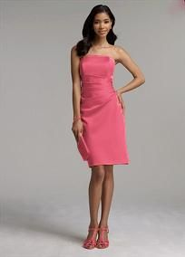 This figure flattering dress is sure to be a favorite for bridesmaids of all shapes and sizes! Simply chic short satin dress features side drape detail and definite wear-again appeal. Available in a variety of colors to suit any bridal party or special event. Fully lined. Back zip. Imported Polyester. Dry clean or hand wash.  To protect your dress, our Non Woven Garment Bag is a must have!