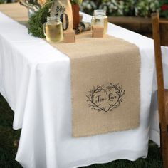 True Love inspired Burlap Table Runner with Mason Jar glasses and rustic party decor.
