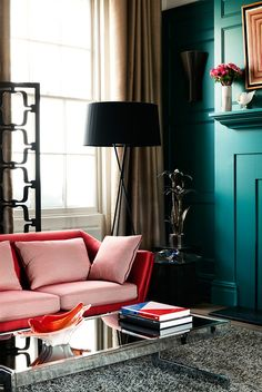 A red and pink sofa. Delicious!