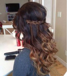 awesome Coiffure mariage : Brown ombre hair. Gotta try this some day - curls, braid......