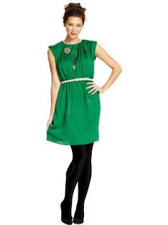 Green Dress (bought it and love it!) with tights!