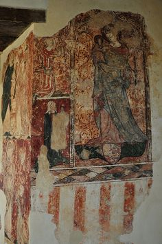 South Newington St Peter Ad Vincula church wall paintings on north wall Madonna and child c1330 -39