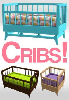 CRIBS CRIBS CRIBS   Part two is here!  INFO AND DOWNLOAD UNDER THE CUT   First of all, massive thank you to the wonderful @loree-sims4 for allowing me to edit her conversion of Awesim's Broyhill Crib. If you haven't see her conversion of the full nursery, you should definitely go check it out, it's a fantastic set!   I loved the style of the crib that came with this set but two things bugged me about about it. First, the mattress was too low so babies looked like they were floating above…