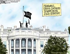 The obama ISIS strategy is a prime example of this president leads from behind, way behind. Cartoon by A.Branco ©2015.