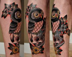 deadinmagazines:  fuckyeahtattoos:  owl leg tattoo I've done..thanks  By Christian Lanouette.