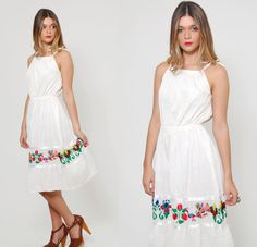 Vintage 70s MEXICAN Sun Dress EMBROIDERED White Pintuck Pleated Mini Dress by LotusvintageNY