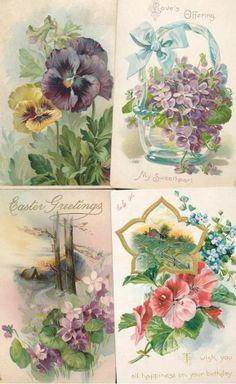 LOVELY vintage LOT of 4  TUCK FLOWERS ~Greetings floral Postcards-kkk481