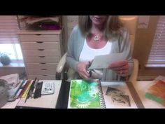 In the bluey-green art journal layout, Pam Carriker uses Gelli plate printed deli paper to build up the collage layers and her hand carved prints. Pam then adds detail  with water resistance Faber-Castell artist crayons. The colours are then added with the Derwent Inktense blocks - this video was the inspiration for me buying my own set of Intense blocks! -- Art Journaling at the Speed of Life...1