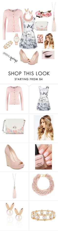 """""""Mix me up cardigan"""" by amberchevy ❤ liked on Polyvore featuring Candie's, ASOS, Jessica Simpson, Oasis, Kenneth Jay Lane, Aamaya by priyanka, Lele Sadoughi, CLUSE, cutecardigan and springlayers"""