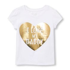 Place Shops Toddler Short Sleeve 'I Love My Daddy' Heart Graphic Tee - White T-Shirt - The Children's Place