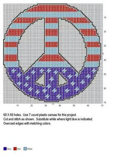 Peace sign US flag Plastic Canvas Coasters, Plastic Canvas Ornaments, Plastic Canvas Crafts, Plastic Canvas Patterns, Needlepoint Patterns, Perler Patterns, Cross Stitch Patterns, Cross Stitch Heart, Beaded Cross Stitch