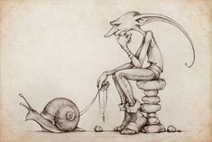 Picsee walking a snail. Made by thePicsees found on deviantart