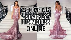 Sexy Backless Mermaid V-neck Sequined Pink Prom Dress with Appliques Lac...