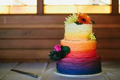 Sunset Themed Wedding Cake- Blue/purple on top, colors are great- not too much pink.