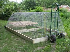 CHicken Tractor put wheels on one side then use 2-wheeler                                                                                                                                                                                 More