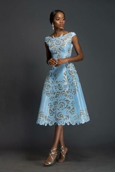 SOPHIA Alice blue Aso-oke, A-line dress patterned with Komole Kandids Nectar motif. What a stunning dress! African Print Dresses, African Print Fashion, African Dress, African Prints, African Fabric, African Attire, African Wear, African Women, African Style