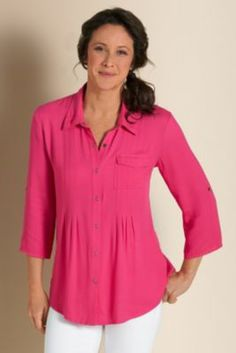 Serafina Top I - 3/4 Sleeve Blouse, Pink Snap Front Top | Soft Surroundings